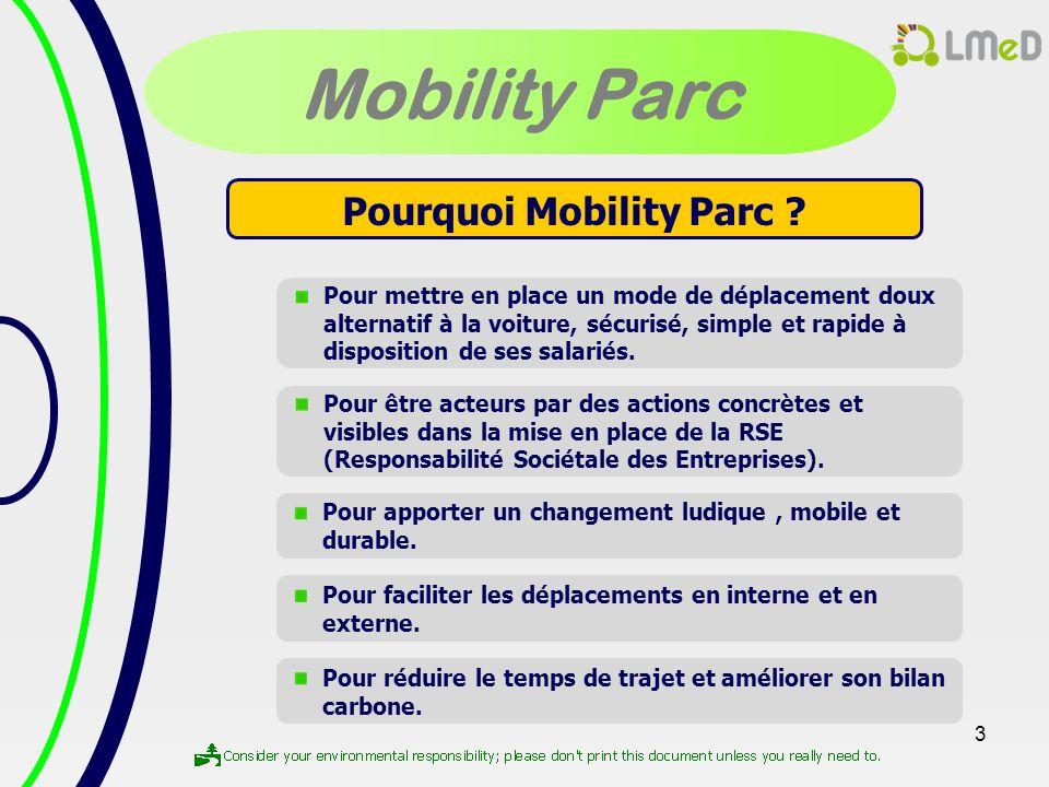 3 Mobility Parc Pourquoi Mobility Parc ? Pour mettre en place un mode de déplacement doux alternatif à la voiture, sécurisé, simple et rapide à dispos