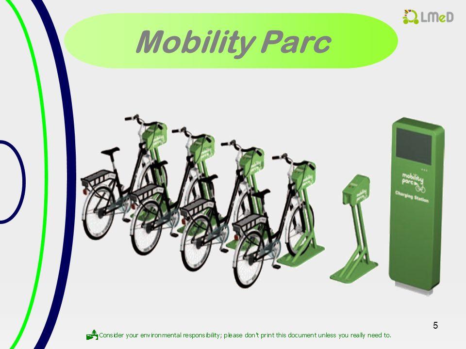 6 Le Concept Les fonctions du Mobility Parc Charger le vélo électrique.