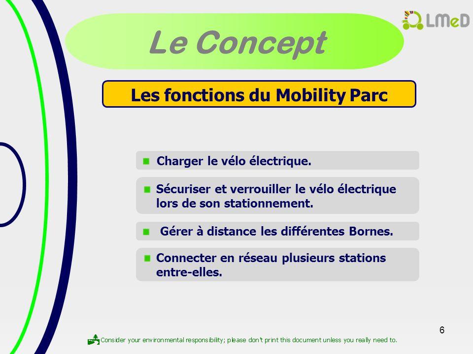 6 Le Concept Les fonctions du Mobility Parc Charger le vélo électrique. Connecter en réseau plusieurs stations entre-elles. Sécuriser et verrouiller l