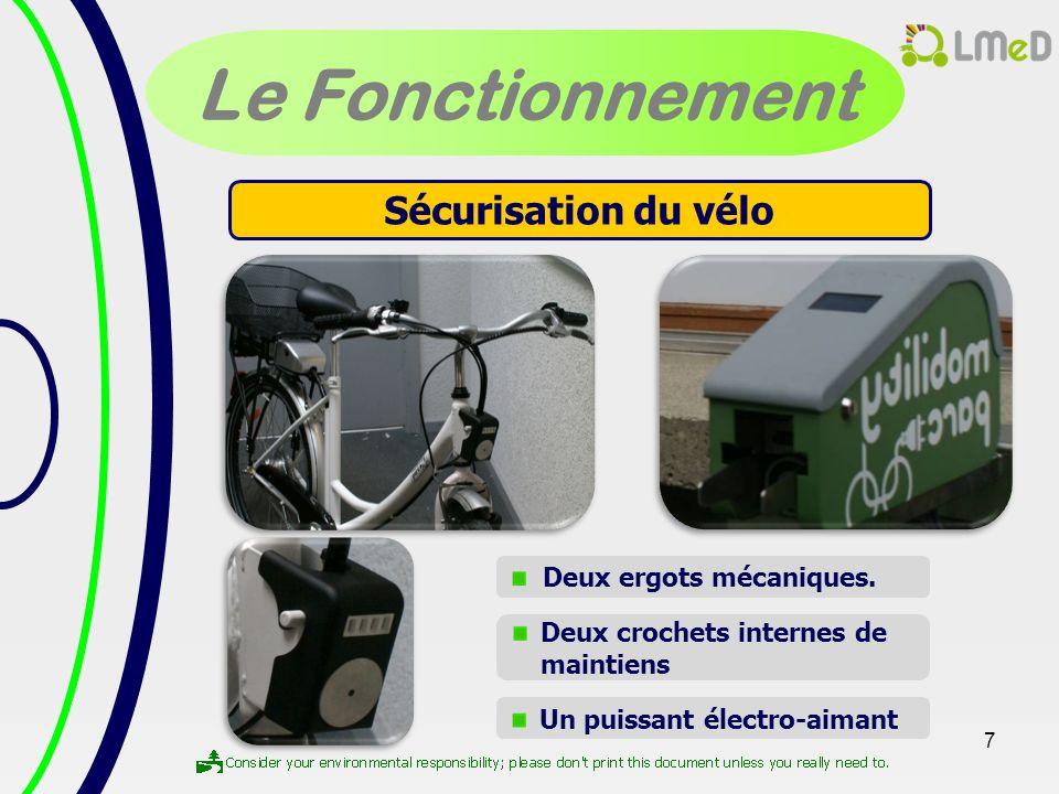 7 Le Fonctionnement Sécurisation du vélo Deux ergots mécaniques. Deux crochets internes de maintiens Un puissant électro-aimant