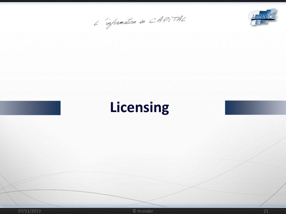 07/11/2013 © Arondor 22 Licences : Pas de coût d acquisition Mode de souscription Annuel En fonction du nombre de serveurs de rendition Prestations : Intégration, Installation, Assistance au déploiement Possibilité de souscrire à une maintenance étendue Possibilité de support à la demande