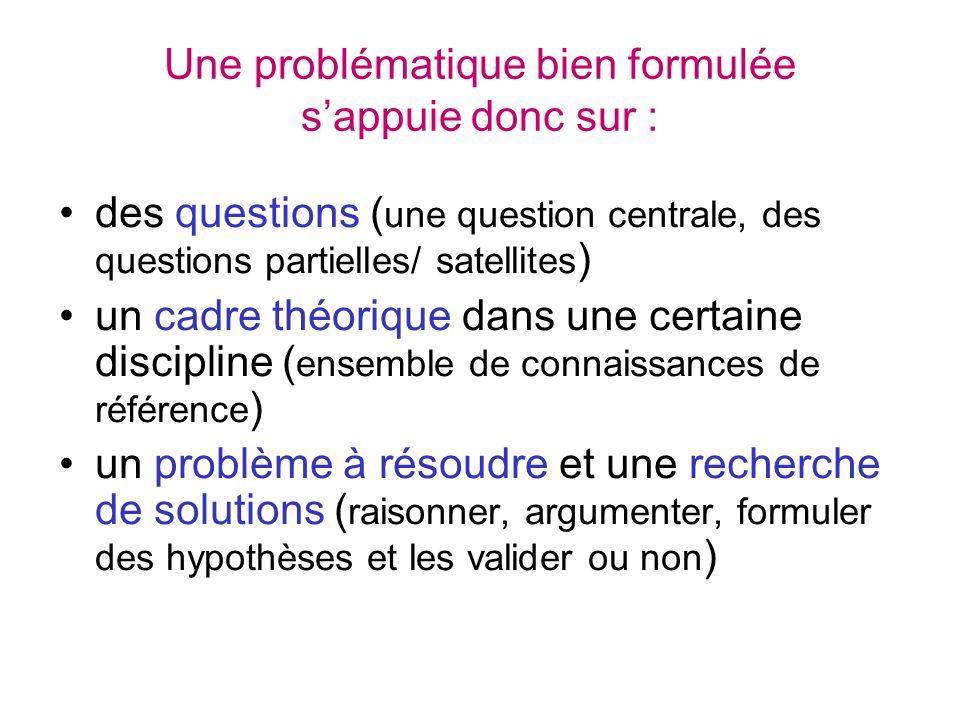 Une problématique bien formulée sappuie donc sur : des questions ( une question centrale, des questions partielles/ satellites ) un cadre théorique da