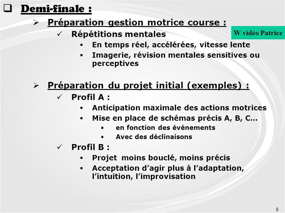 8 Demi-finale : Préparation gestion motrice course : Répétitions mentales En temps réel, accélérées, vitesse lente Imagerie, révision mentales sensiti
