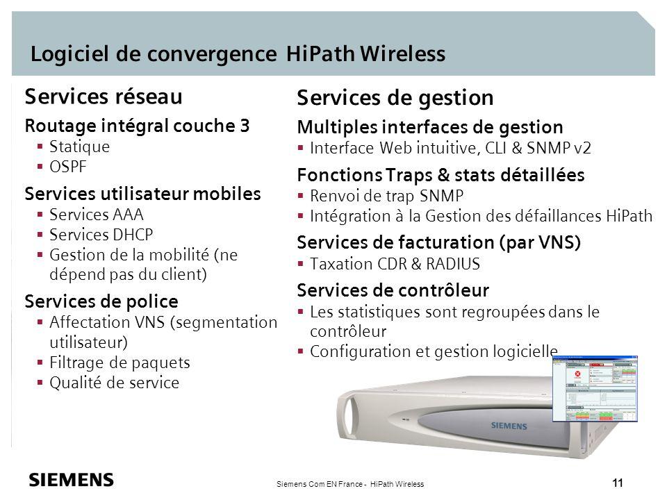 Siemens Com EN France - HiPath Wireless 11 Logiciel de convergence HiPath Wireless Services réseau Routage intégral couche 3 Statique OSPF Services ut