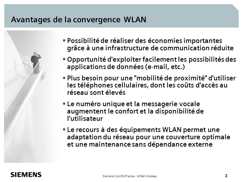 Siemens Com EN France - HiPath Wireless 3 Avantages de la convergence WLAN Possibilité de réaliser des économies importantes grâce à une infrastructur