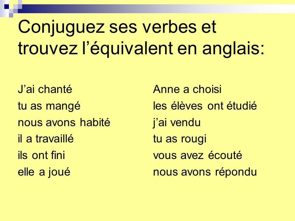 Conjuguez ses verbes et trouvez léquivalent en anglais: je (chanter) tu (manger) nous (habiter) il (travailler) ils (finir) elle (jouer) Anne (choisir