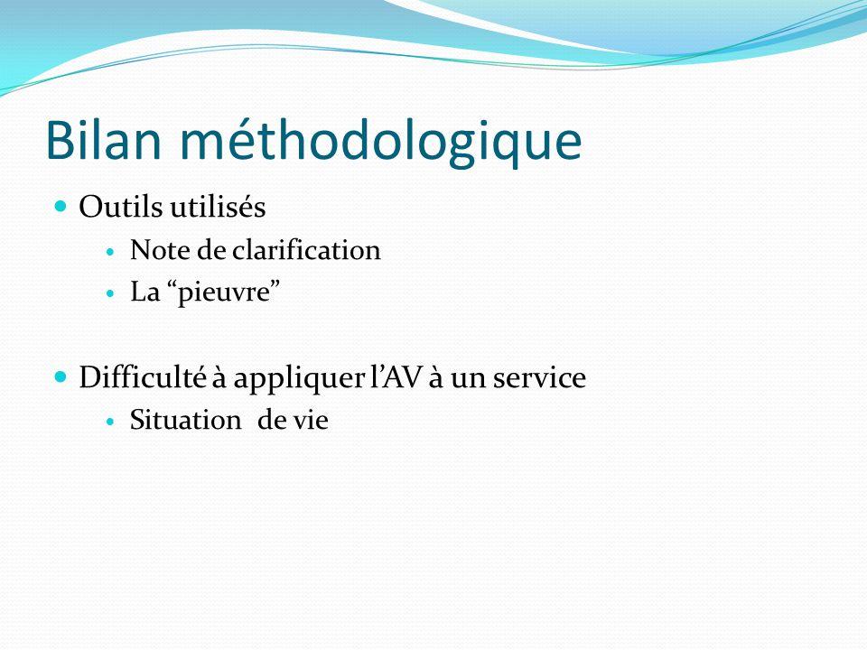 Bilan méthodologique Outils utilisés Note de clarification La pieuvre Difficulté à appliquer lAV à un service Situation de vie