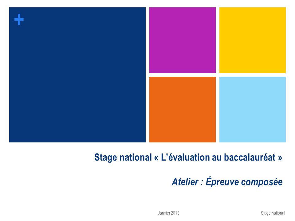 + Stage national « Lévaluation au baccalauréat » Atelier : Épreuve composée Janvier 2013Stage national