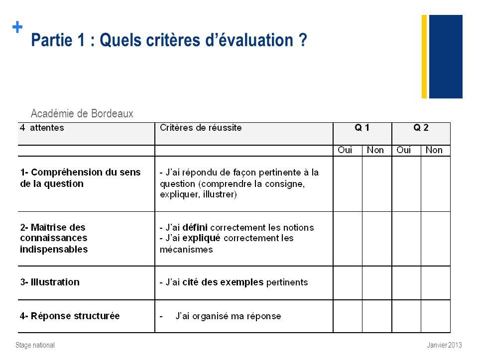 + Partie 1 : Quels critères dévaluation ? Académie de Bordeaux Janvier 2013Stage national