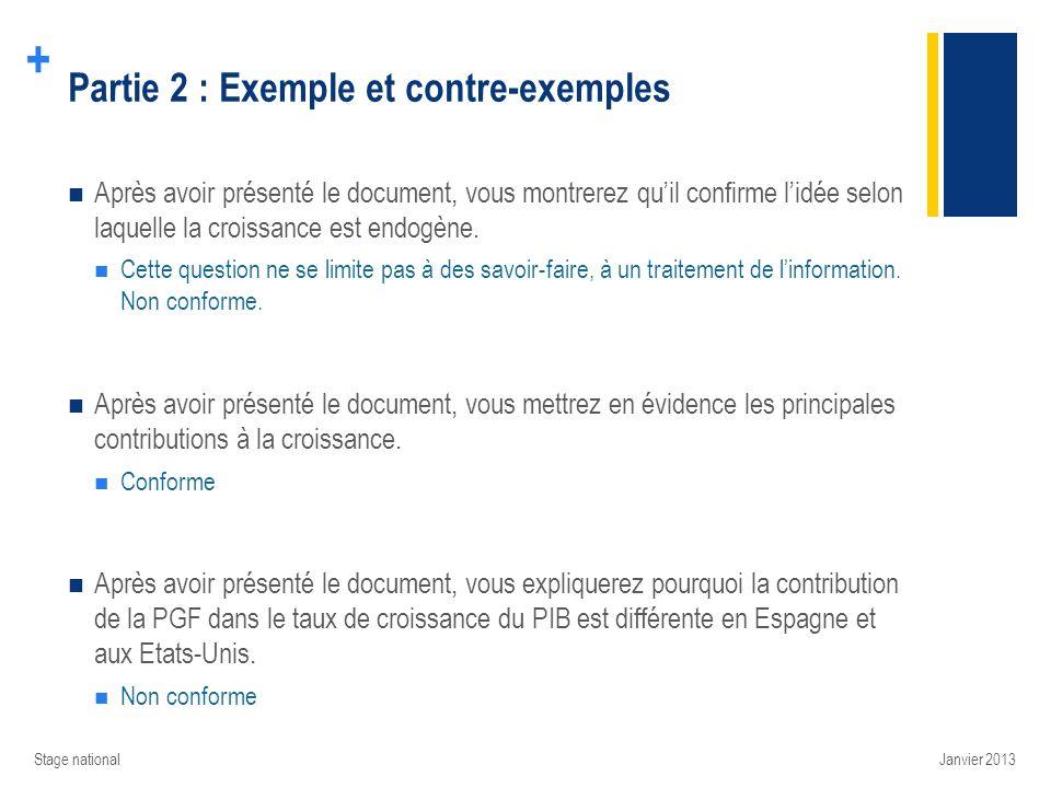 + Partie 2 : Exemple et contre-exemples Après avoir présenté le document, vous montrerez quil confirme lidée selon laquelle la croissance est endogène