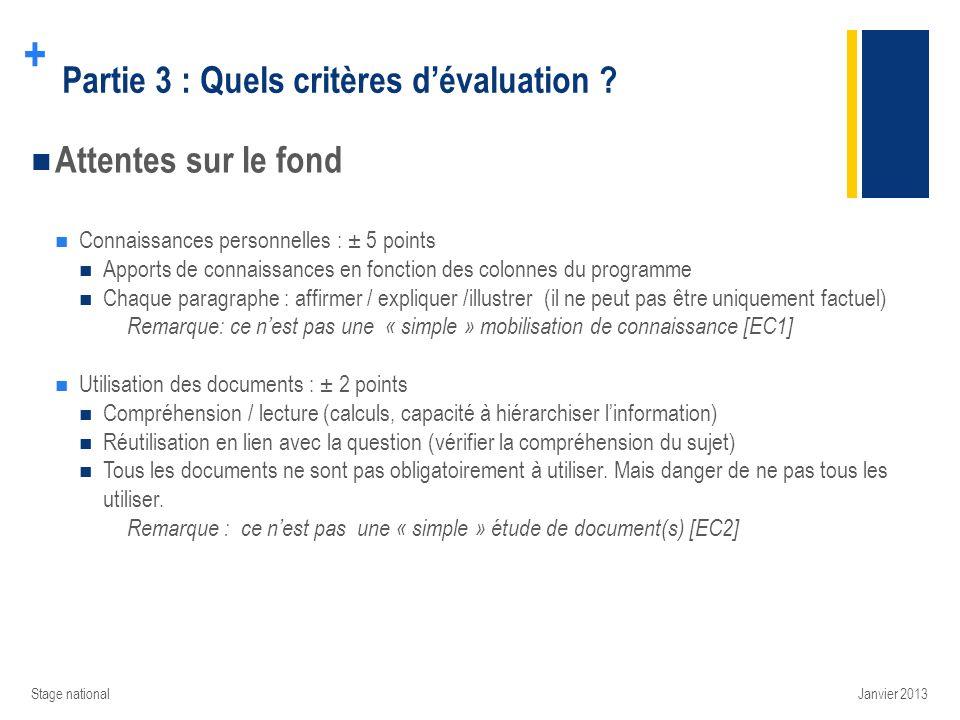 + Partie 3 : Quels critères dévaluation ? Attentes sur le fond Connaissances personnelles : ± 5 points Apports de connaissances en fonction des colonn