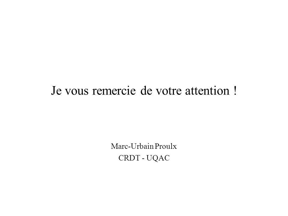 Je vous remercie de votre attention ! Marc-Urbain Proulx CRDT - UQAC