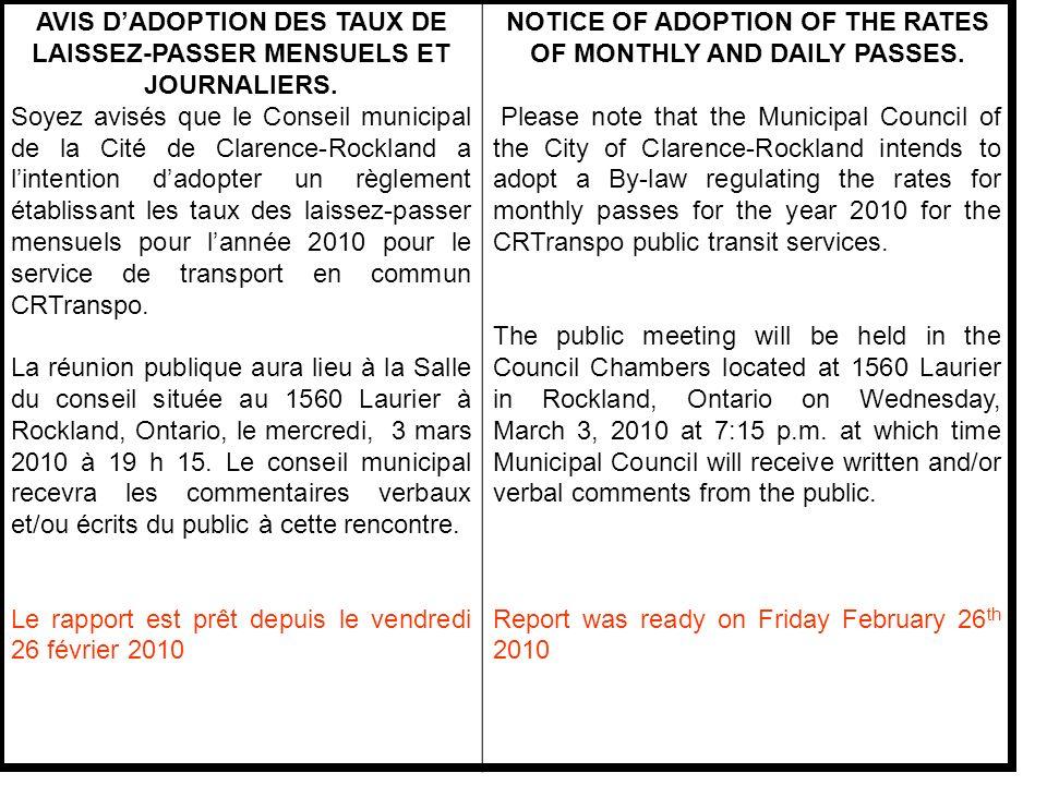 INTRODUCTION Lors de la présentation du Budget 2010, les services physiques on proposé laugmentation des tarifs des laissez- passer mensuels pour le transport en commun.