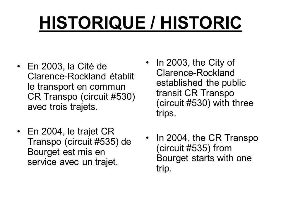 HISTORIQUE / HISTORIC En 2003, la Cité de Clarence-Rockland établit le transport en commun CR Transpo (circuit #530) avec trois trajets.