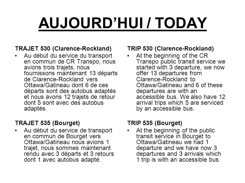 AUJOURDHUI / TODAY TRAJET 530 (Clarence-Rockland) Au début du service du transport en commun de CR Transpo, nous avions trois trajets, nous fournissons maintenant 13 départs de Clarence-Rockland vers Ottawa/Gatineau dont 6 de ces départs sont des autobus adaptés et nous avons 12 trajets de retour dont 5 sont avec des autobus adaptés.