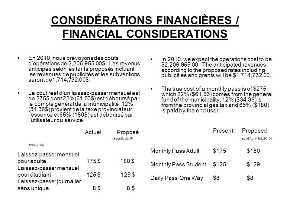 CONSIDÉRATIONS FINANCIÈRES / FINANCIAL CONSIDERATIONS En 2010, nous prévoyons des coûts dopérations de 2,206,955.00$.