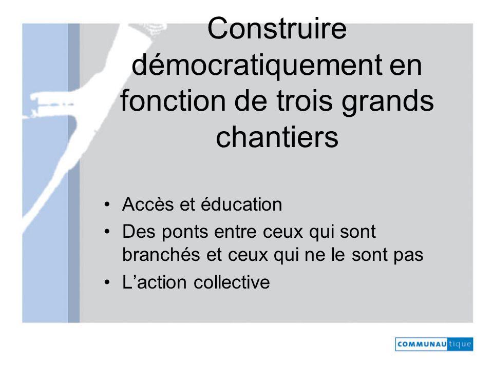 Construire démocratiquement en fonction de trois grands chantiers Accès et éducation Des ponts entre ceux qui sont branchés et ceux qui ne le sont pas Laction collective