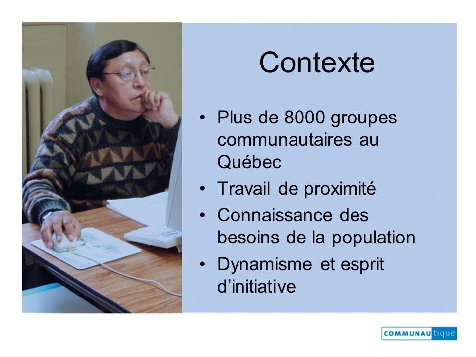 Contexte Plus de 8000 groupes communautaires au Québec Travail de proximité Connaissance des besoins de la population Dynamisme et esprit dinitiative