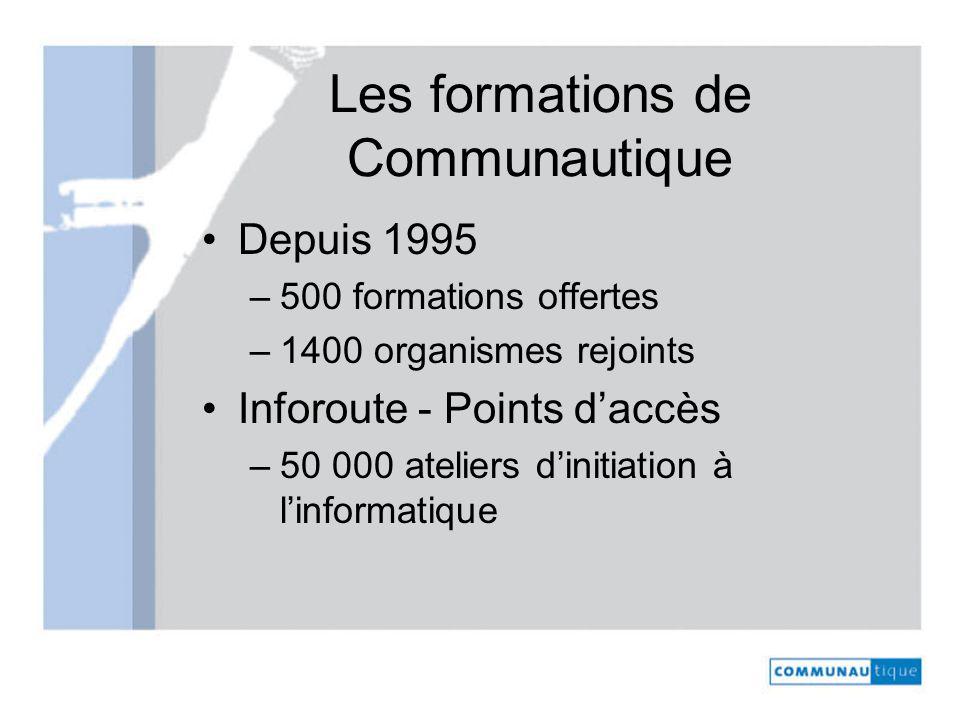 Les formations de Communautique Depuis 1995 –500 formations offertes –1400 organismes rejoints Inforoute - Points daccès –50 000 ateliers dinitiation