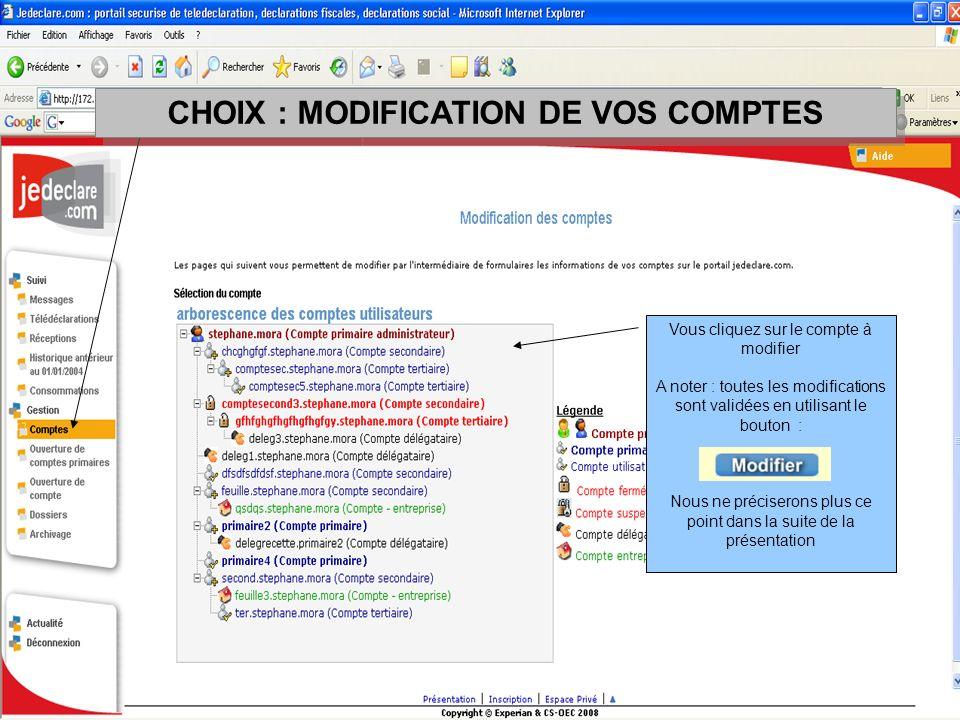 CHOIX : MODIFICATION DE VOS COMPTES Vous cliquez sur le compte à modifier A noter : toutes les modifications sont validées en utilisant le bouton : No