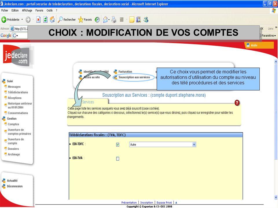 Ce choix vous permet de modifier les autorisations dutilisation du compte au niveau des télé procédures et des services CHOIX : MODIFICATION DE VOS CO
