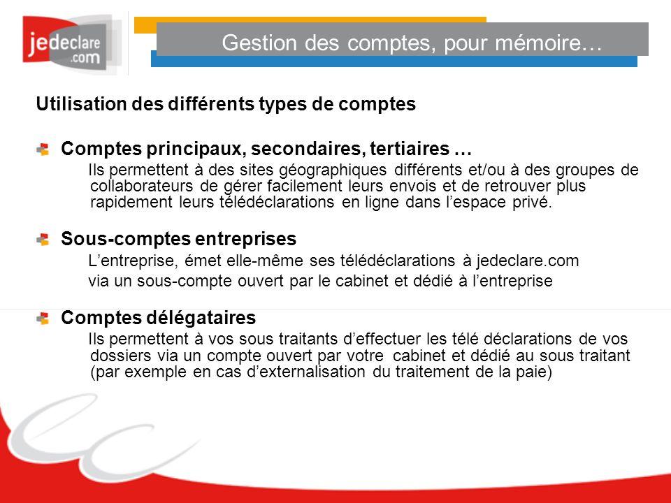 Gestion des comptes, pour mémoire… Utilisation des différents types de comptes Comptes principaux, secondaires, tertiaires … Ils permettent à des site
