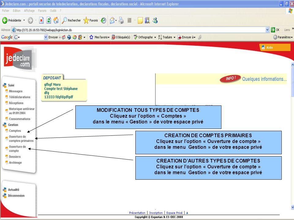 MODIFICATION TOUS TYPES DE COMPTES Cliquez sur loption « Comptes » dans le menu « Gestion » de votre espace privé CREATION DE COMPTES PRIMAIRES Clique