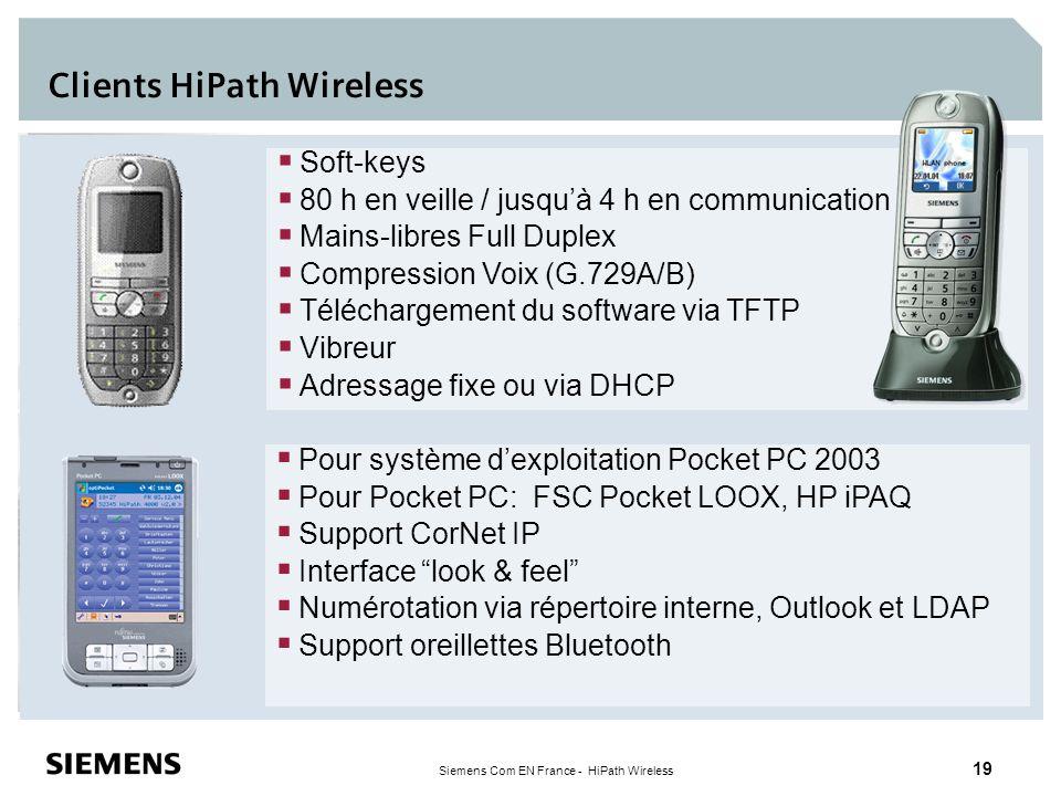 Siemens Com EN France - HiPath Wireless 19 Pour système dexploitation Pocket PC 2003 Pour Pocket PC: FSC Pocket LOOX, HP iPAQ Support CorNet IP Interf