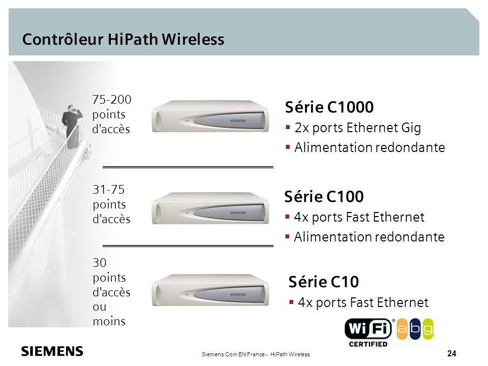 Siemens Com EN France - HiPath Wireless 24 Contrôleur HiPath Wireless 31-75 points d'accès 75-200 points d'accès Série C1000 2x ports Ethernet Gig Ali