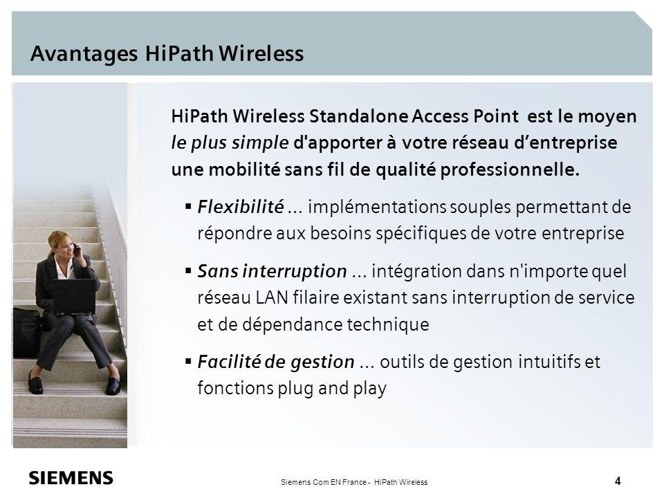 Siemens Com EN France - HiPath Wireless 5 HiPath Wireless Standalone Access Point Caractéristiques physiques 802.11b/g (mise à niveau logicielle possible en 802.11a) Versions avec antenne externe et interne 10/100bT avec PoE (802.3af) Montage mur, plafond et plenum (UL 2043) Suppression SSID Fonctions clés Rapidité et simplicité de la mise en œuvre et de la configuration Interface de gestion Web intuitive Clustering de points d accès (5 AP par cluster) Qualité de service Roaming rapide et sécurisé AP 2640 AP 2630