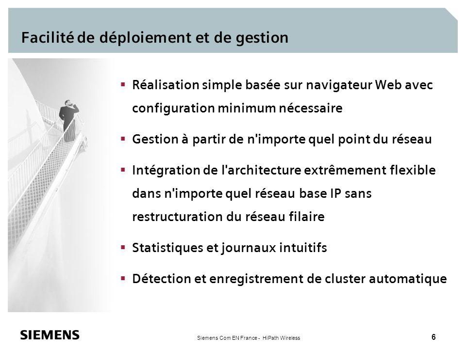 Siemens Com EN France - HiPath Wireless 7 Clusters intelligents de points daccès (AP) Les AP autonomes détectent automatiquement la présence d autres AP et constituent des clusters Maximum 5 AP par cluster Les membres du cluster partagent les informations du réseau Les administrateurs peuvent voir l état global du réseau à partir d une interface simple