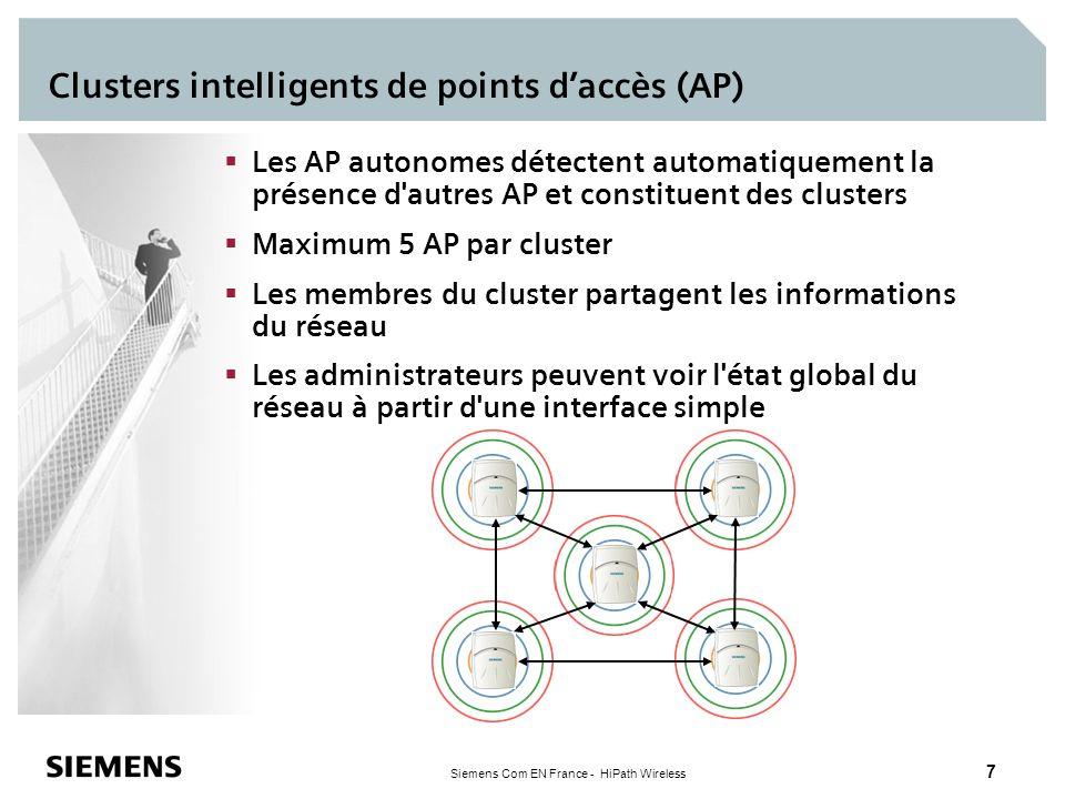 Siemens Com EN France - HiPath Wireless 7 Clusters intelligents de points daccès (AP) Les AP autonomes détectent automatiquement la présence d'autres