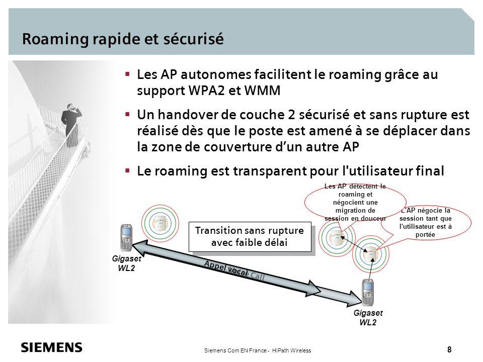 Siemens Com EN France - HiPath Wireless 8 Roaming rapide et sécurisé Les AP autonomes facilitent le roaming grâce au support WPA2 et WMM Un handover d