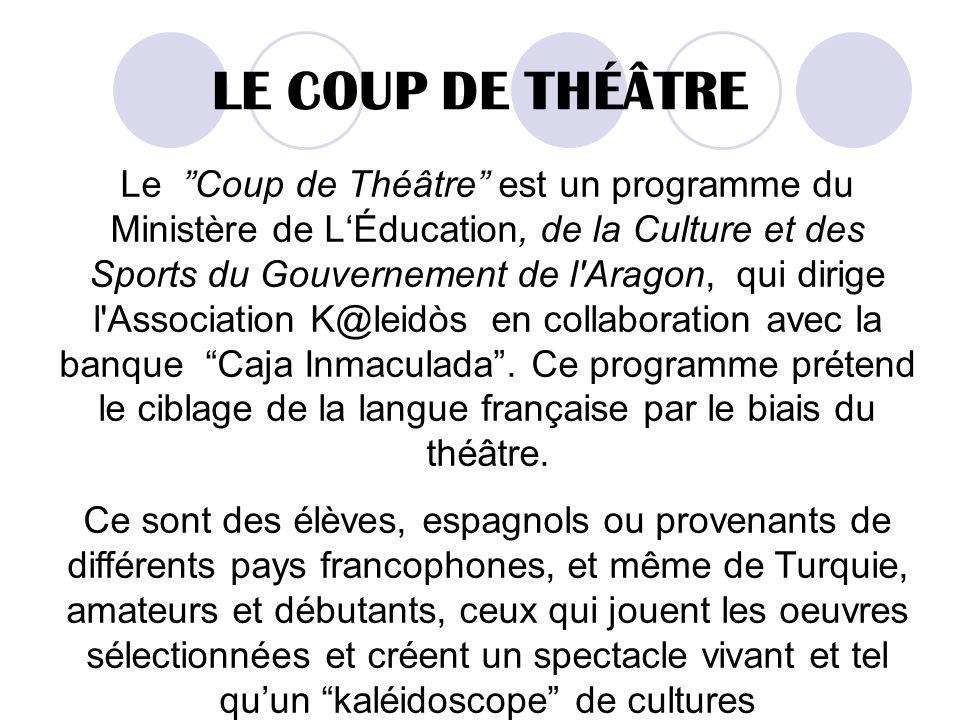 LE COUP DE THÉÂTRE Le Coup de Théâtre est un programme du Ministère de LÉducation, de la Culture et des Sports du Gouvernement de l Aragon, qui dirige l Association K@leidòs en collaboration avec la banque Caja Inmaculada.