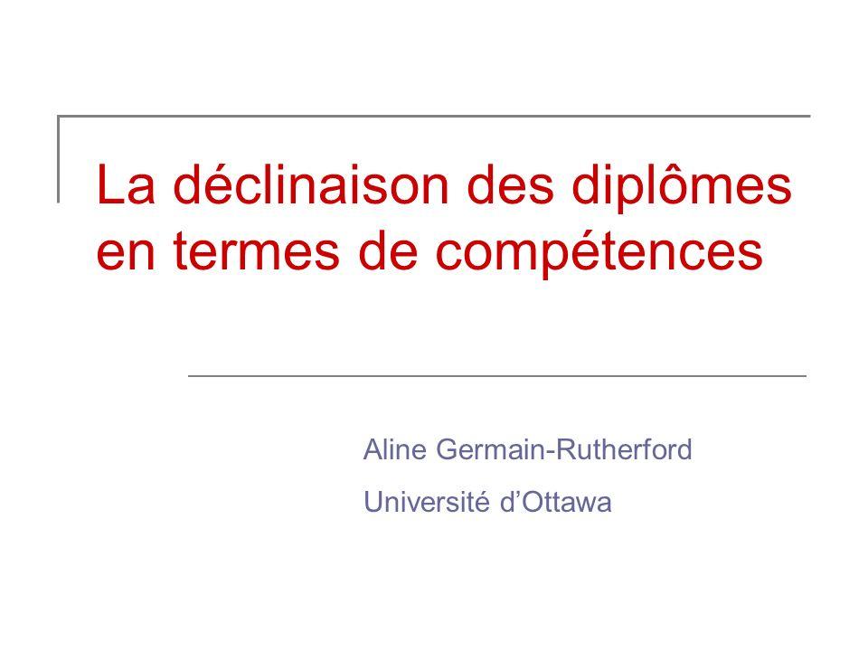 La déclinaison des diplômes en termes de compétences Aline Germain-Rutherford Université dOttawa
