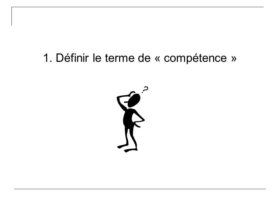 1. Définir le terme de « compétence »