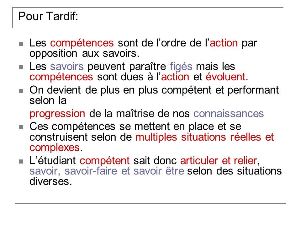 Pour Tardif: Les compétences sont de lordre de laction par opposition aux savoirs.