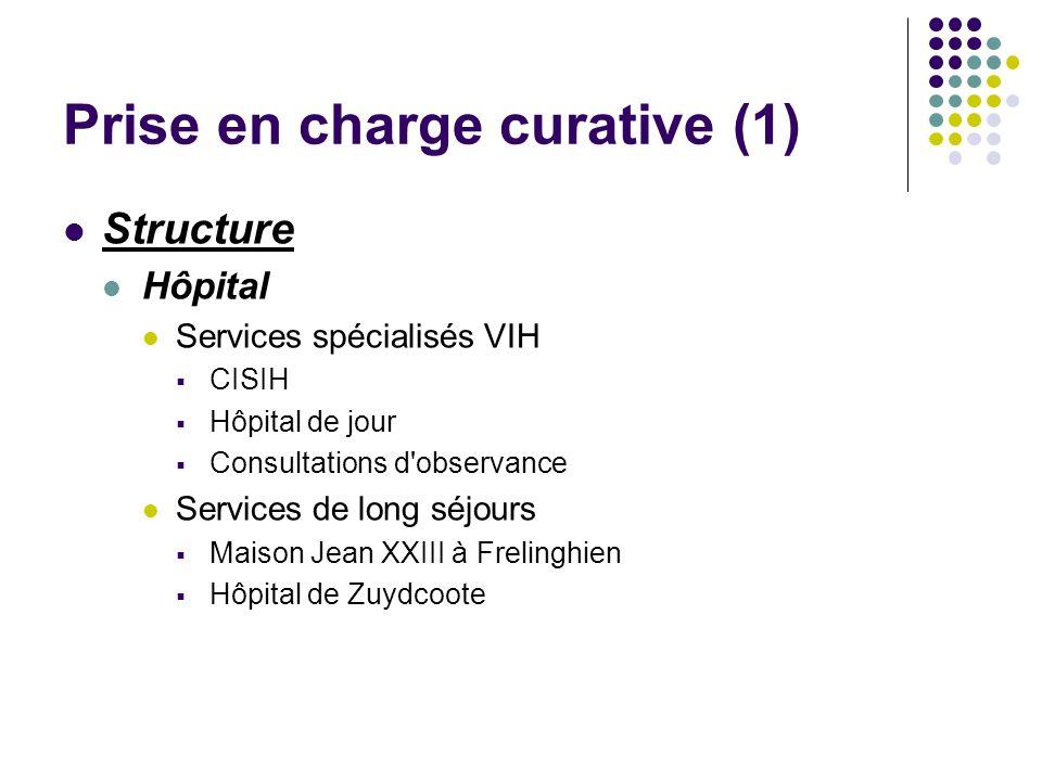 Prise en charge curative (1) Structure Hôpital Services spécialisés VIH CISIH Hôpital de jour Consultations d'observance Services de long séjours Mais