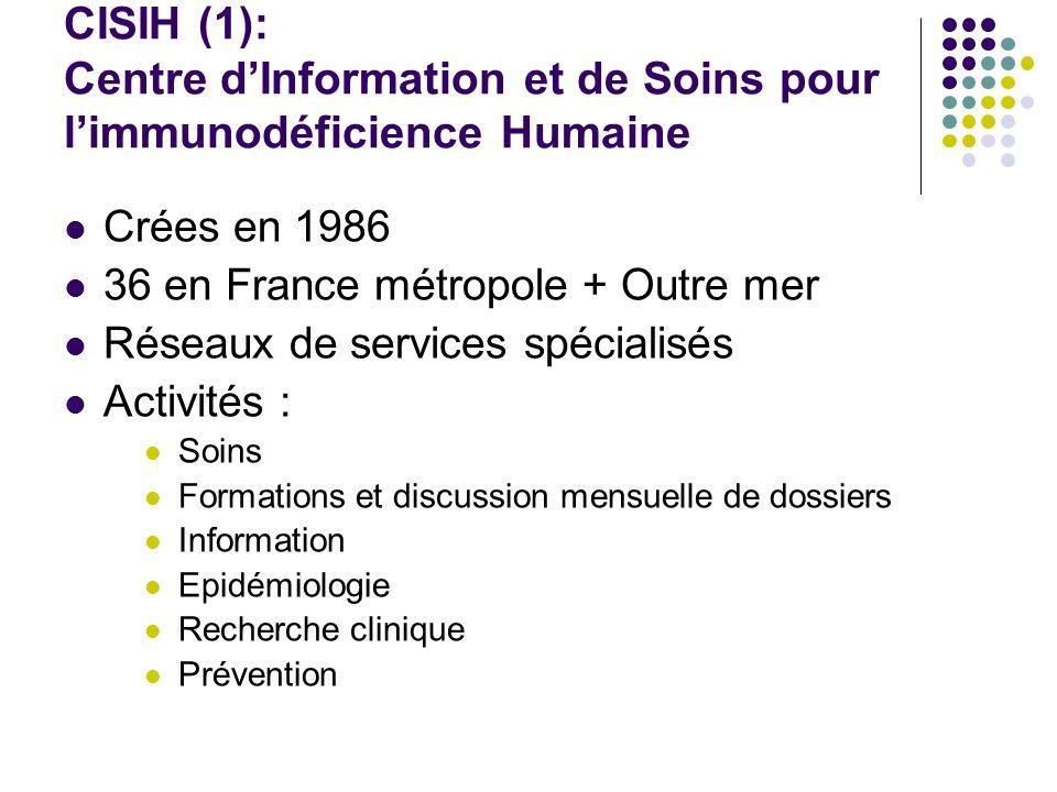 CISIH (1): Centre dInformation et de Soins pour limmunodéficience Humaine Crées en 1986 36 en France métropole + Outre mer Réseaux de services spécial