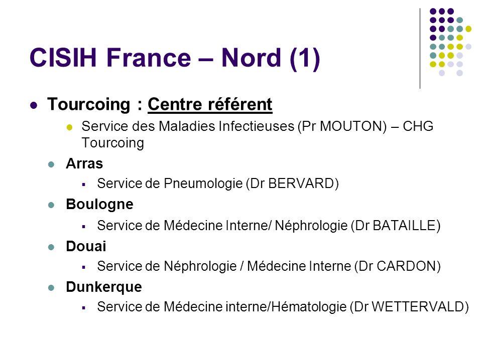 CISIH France – Nord (1) Tourcoing : Centre référent Service des Maladies Infectieuses (Pr MOUTON) – CHG Tourcoing Arras Service de Pneumologie (Dr BER