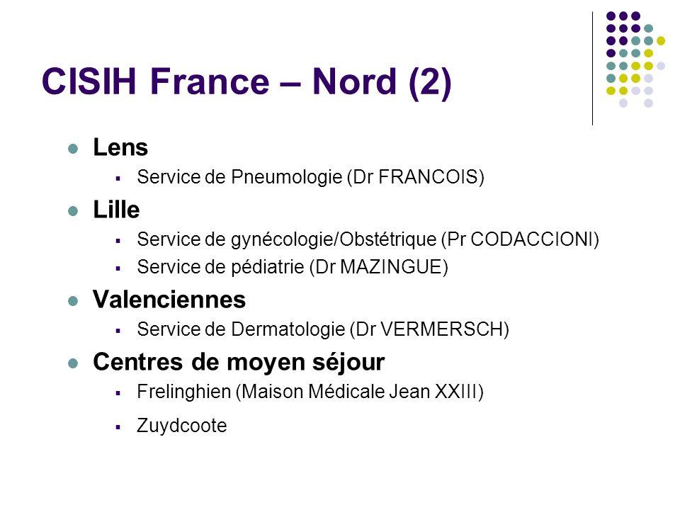 CISIH France – Nord (2) Lens Service de Pneumologie (Dr FRANCOIS) Lille Service de gynécologie/Obstétrique (Pr CODACCIONI) Service de pédiatrie (Dr MA