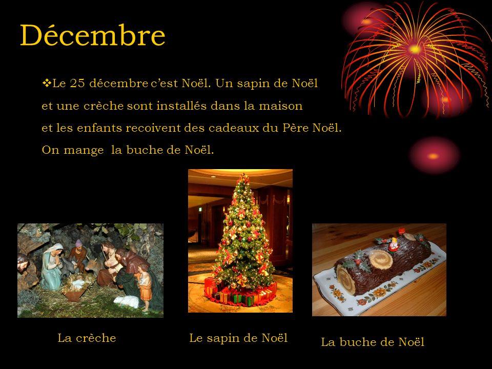 Décembre Le sapin de Noël La buche de Noël Le 25 décembre cest Noël. Un sapin de Noël et une crèche sont installés dans la maison et les enfants recoi