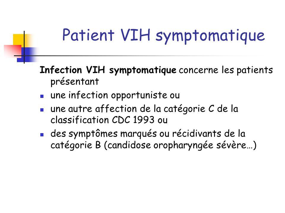Patient VIH symptomatique Infection VIH symptomatique concerne les patients présentant une infection opportuniste ou une autre affection de la catégor