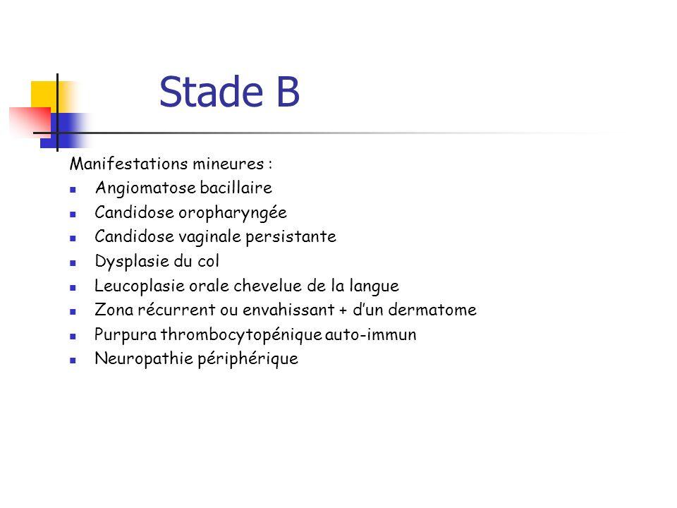 Stade B Manifestations mineures : Angiomatose bacillaire Candidose oropharyngée Candidose vaginale persistante Dysplasie du col Leucoplasie orale chev