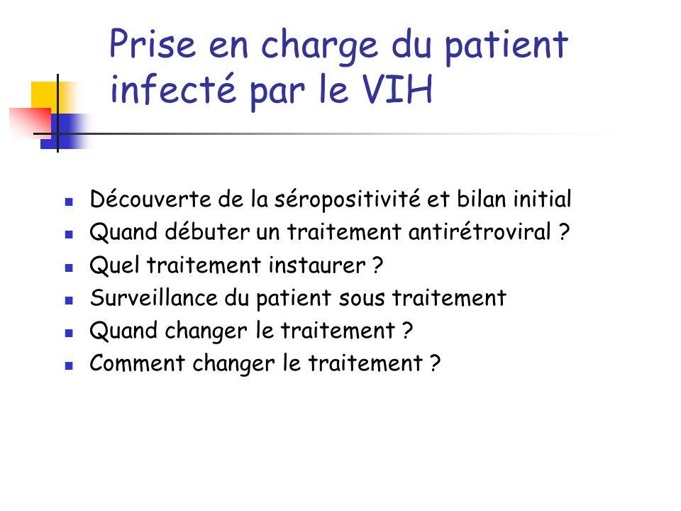 Découverte de la séropositivité et bilan initial Quand débuter un traitement antirétroviral ? Quel traitement instaurer ? Surveillance du patient sous