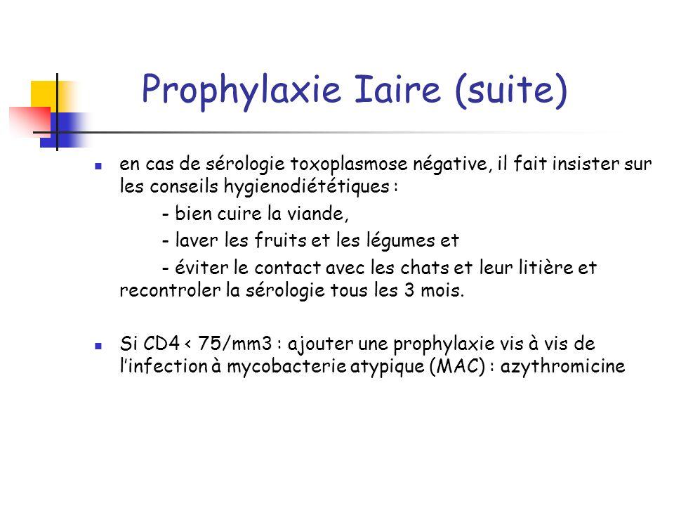 Prophylaxie Iaire (suite) en cas de sérologie toxoplasmose négative, il fait insister sur les conseils hygienodiététiques : - bien cuire la viande, -