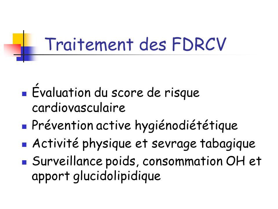 Traitement des FDRCV Évaluation du score de risque cardiovasculaire Prévention active hygiénodiététique Activité physique et sevrage tabagique Surveil