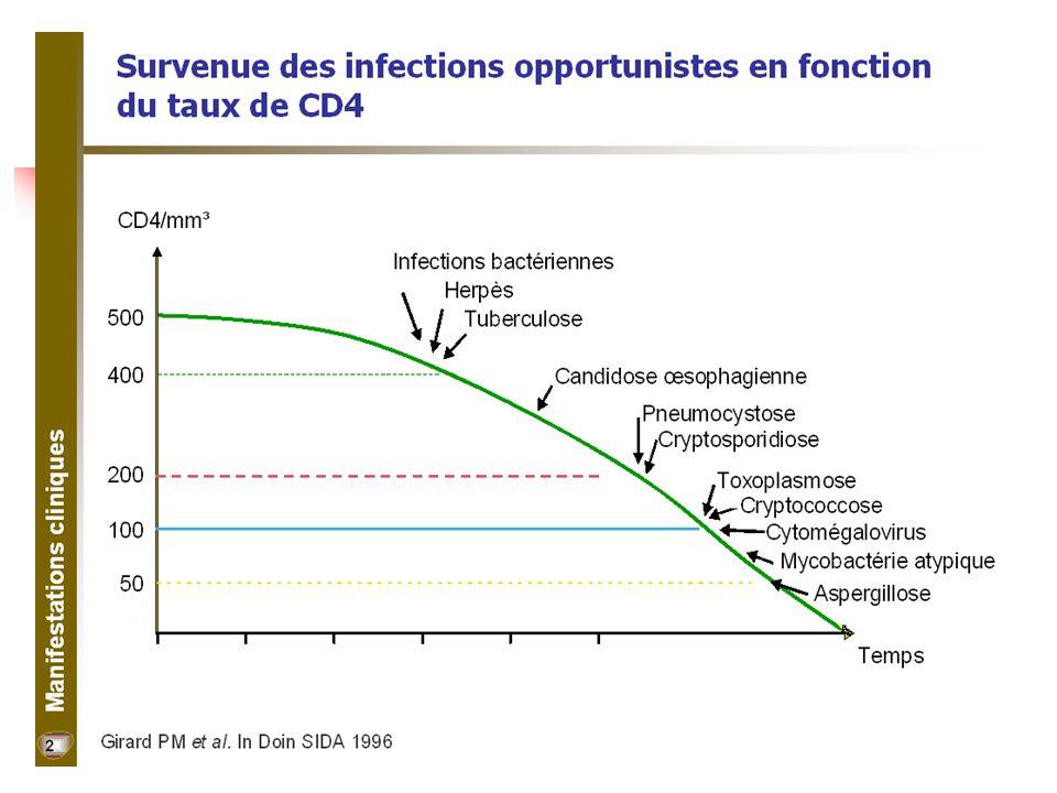 Objectifs du traitement antirétroviral Abaisser au maximum la charge virale Restaurer limmunité Freiner (arrêter) la progression de la maladie