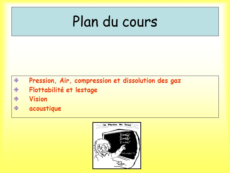 Plan du cours Pression, Air, compression et dissolution des gaz Flottabilité et lestage Vision acoustique