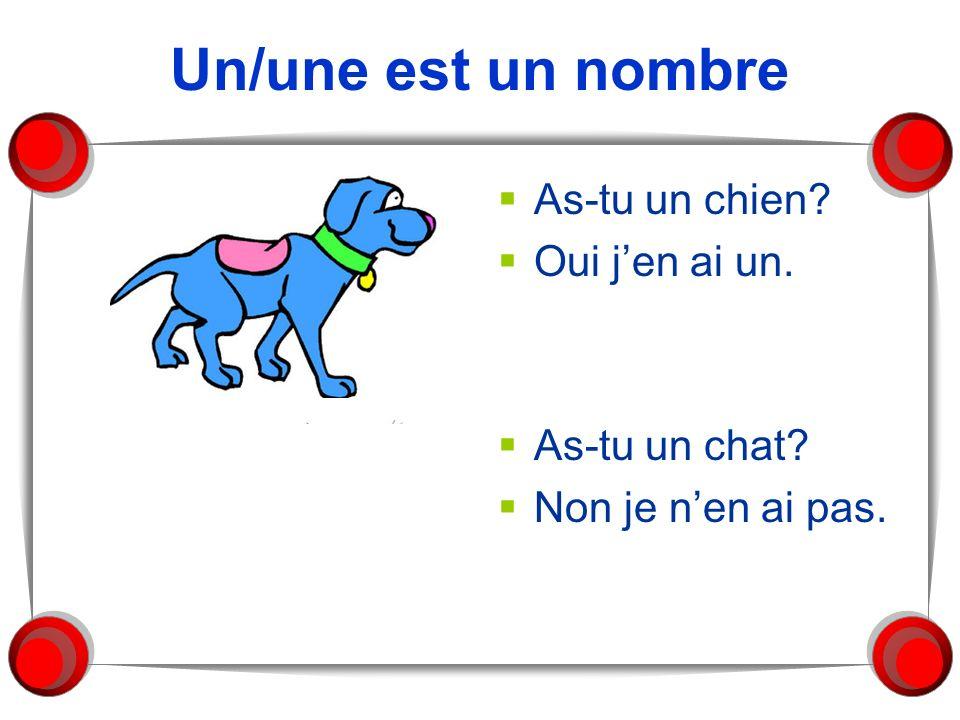Un/une est un nombre As-tu un chien? Oui jen ai un. As-tu un chat? Non je nen ai pas.